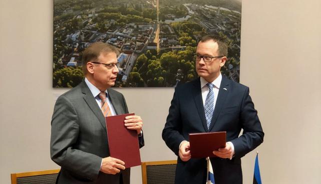 Tartu linnapea Urmas Klaas ja Tampere linnapea Lauri Lyly