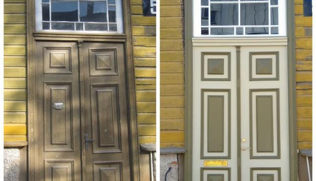 Marja 5 uks enne ja pärast restaureerimist