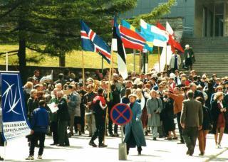 Встреча представителей скандинавских городов-побратимов в Тарту в 1999 году.