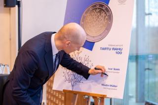 Tartu rahule pühendatud 2-eurose mündi esitlus 1. veebruaril, foto: Eesti Pank