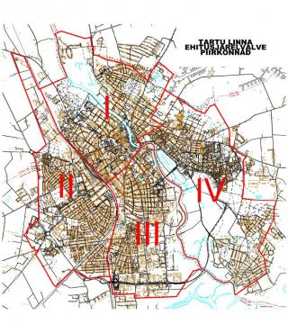 Tartu ehitusjärelvalve piirkondade kaart