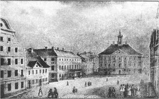 G. F. Schlater. Market Square with Town Hall. Lithography. 1832-1833