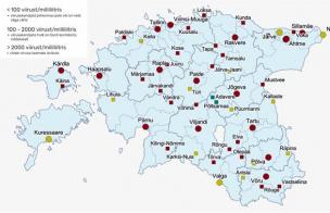 Koroonaviiruse reoveeseire kaart 9. aprilli seisuga.