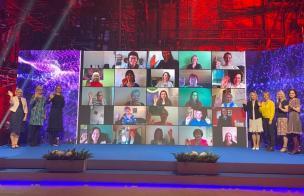 Sotsiaalvaldkonna töötajate virtuaalne tunnustusüritus 2020. a mais: ühispilt konkursi laureaatidega. Tunnustamisele esitati kokku 80 inimest 13 kategoorias.